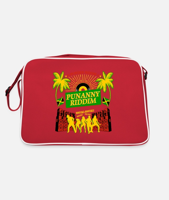 Rasta Bags & Backpacks - Punanny Jamaican Classic Dancehall Riddim Shirt - Retro Bag red/white