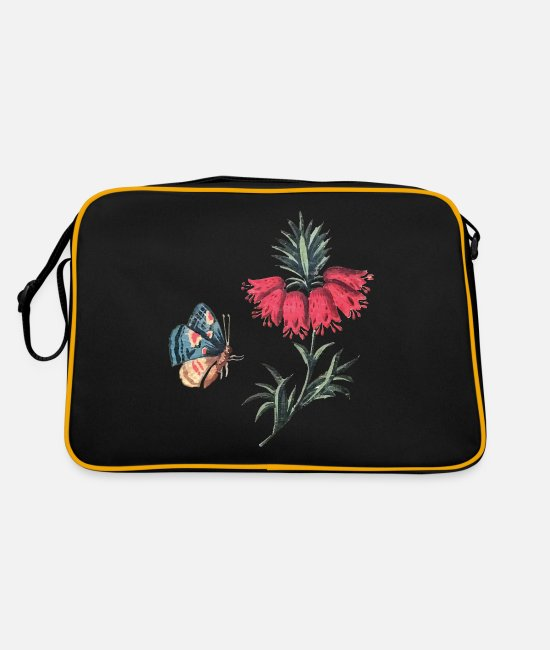 Red Bags & Backpacks - Flying butterfly with flowers - Retro Bag black/gold