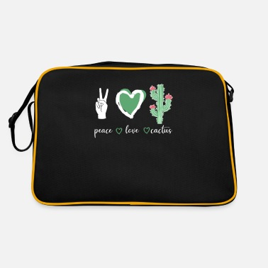 Prickly Cactus plant Peace Love Cactus - Retro Bag