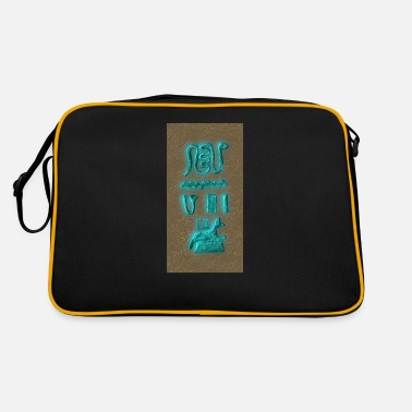 Stone Tablet Glowing hieroglyphs, stone tablet, Egypt, fant - Retro Bag