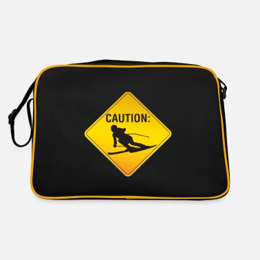 Funny Road Sign Ski skiing vacation skiing road sign gift - Retro Bag
