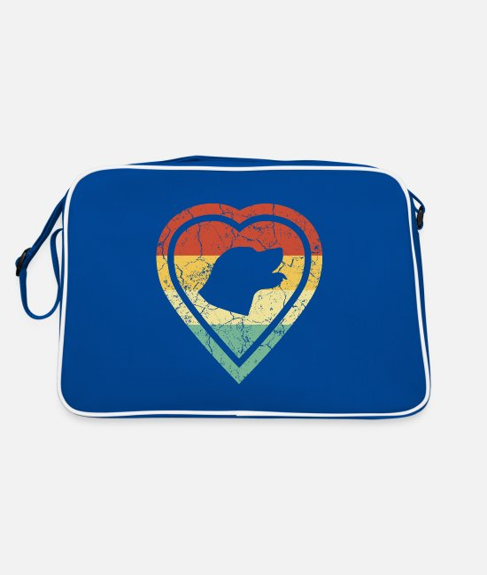 Heart Bags & Backpacks - Grunge heart retro vintage labrador dog love - Retro Bag blue/white
