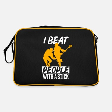 I Love I beat people with a stick Lacrosse LAX - Retrotasche