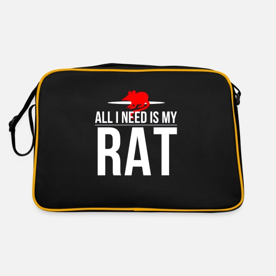 Gift Idea Bags & Backpacks - Rat Pet Rat Rat Cage Gift Idea - Retro Bag black/gold