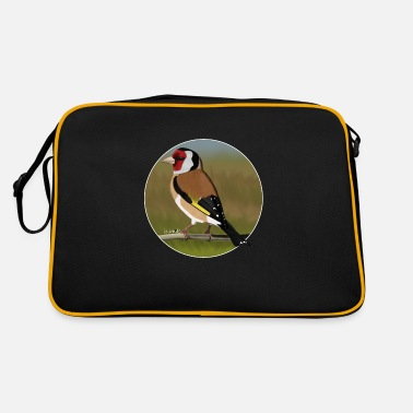 Painted Bird Painted Goldfinch bird design illustration - Retro Bag