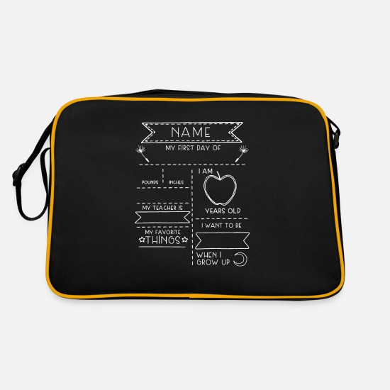Birthday Bags & Backpacks - school board gift school student schoolgirl Leh - Retro Bag black/gold