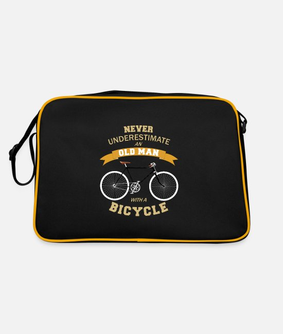 Dad Bags & Backpacks - Never Underestimate An Old Man With A Bicycle - Retro Bag black/gold