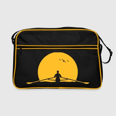 Rowing sunset rower rowing skulls - Retro Bag
