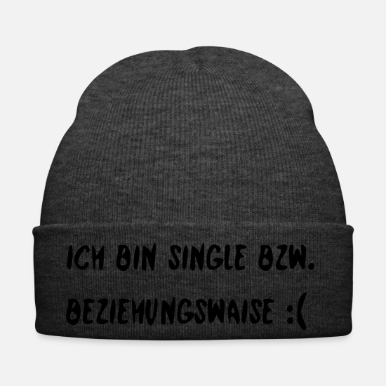 Single Caps & Hats - I am single or relationship orphan - Winter Hat asphalt