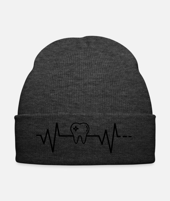 Treatment Caps & Hats - Heartbeat tooth, doctor, dentist, medicine, teeth - Winter Hat asphalt