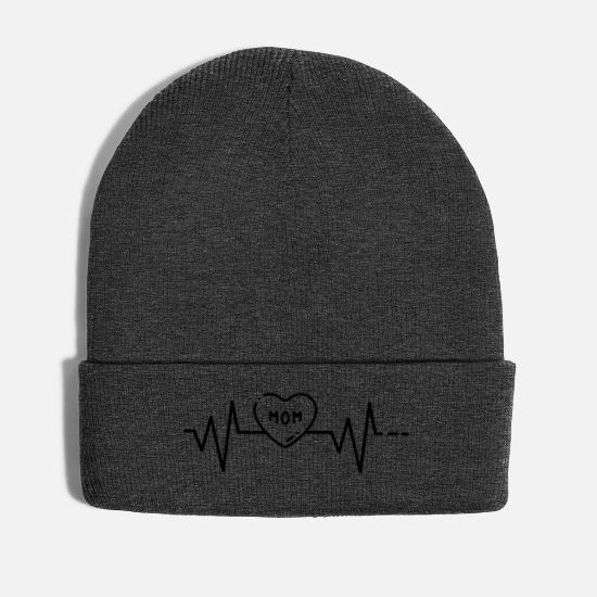 Love Caps & Hats - Heartbeat Mom, Mothers Day, Mother, Mother, Day Mum - Winter Hat asphalt