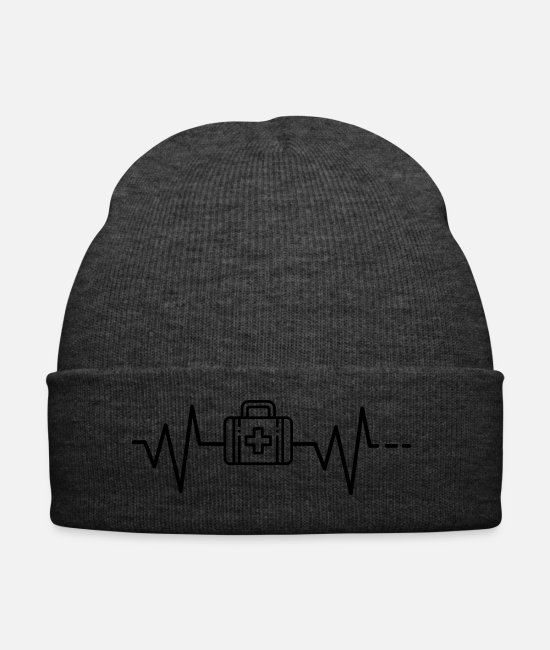 Heart Rate Caps & Hats - Heartbeat first aid medical kit doctor medicine - Winter Hat asphalt