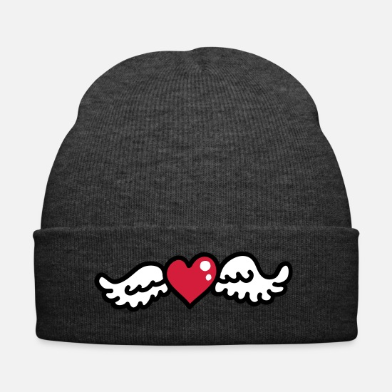 Love Caps & Hats - Heart Wings 3 - Winter Hat asphalt