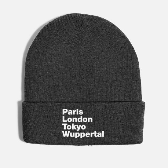 Gift Idea Caps & Hats - Wuppertal Paris London Tokyo - Winter Hat asphalt