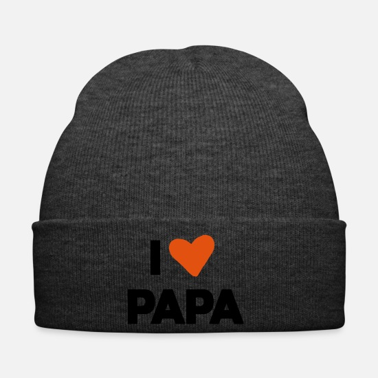 Love Caps & Hats - i love daddy heart - Winter Hat asphalt