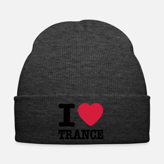 Trance Caps & Hats - I love trance / I heart trance - Winter Hat asphalt