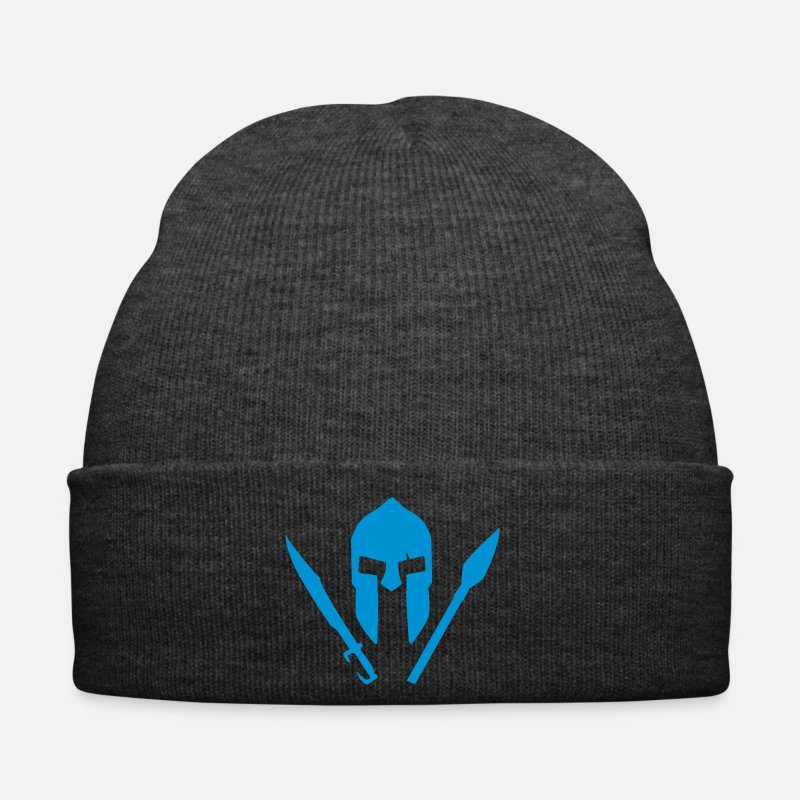 Spartan Caps & Hats - A spartan helmet with sword and spear - Winter Hat asphalt