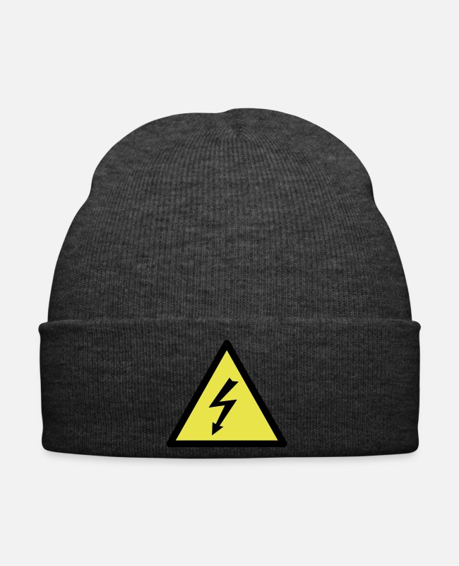 Industry Caps & Hats - Warning triangle flash - 2 Color Vector - Winter Hat asphalt