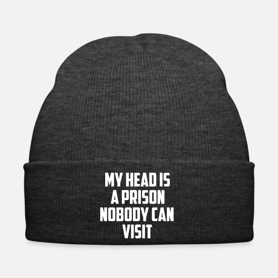 Birthday Caps & Hats - my head is a prison - Winter Hat asphalt