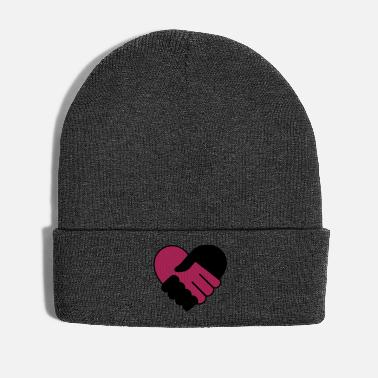 Lilac Heart holding hands black purple - Winter Hat