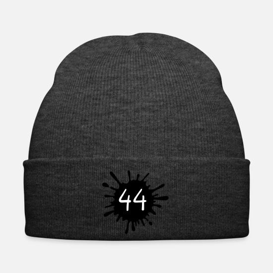 Birthday Caps & Hats - 44__zahl_klecks__f2 - Winter Hat asphalt