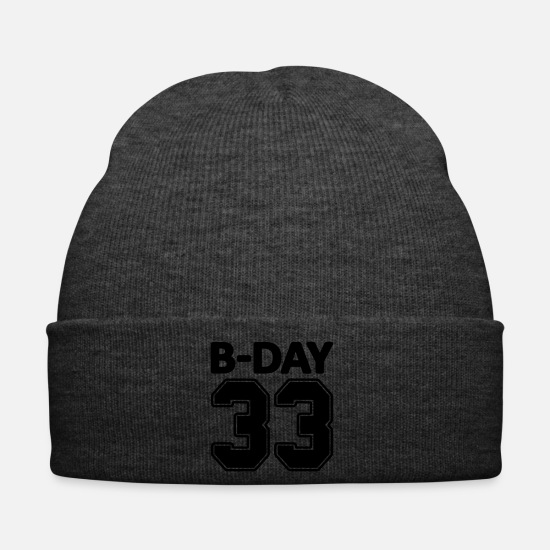 Birthday Caps & Hats - 33rd birthday bday 33 number numbers jersey number - Winter Hat asphalt