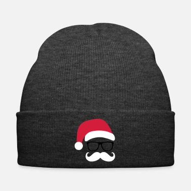 Santa Funny Santa Claus with nerd glasses and mustache - Bonnet d'hiver