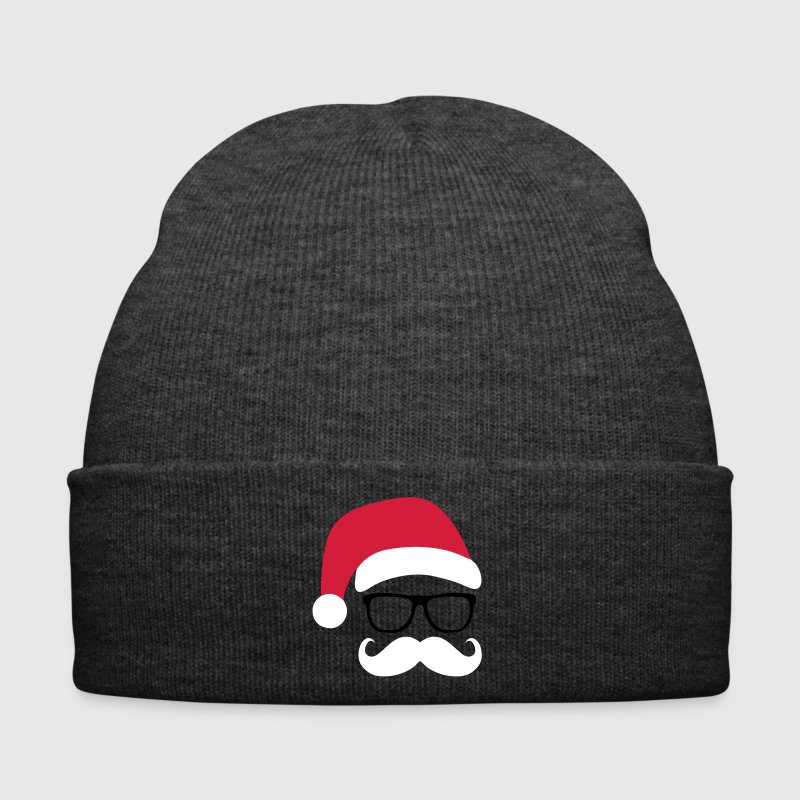 Funny Santa Claus with nerd glasses and mustache - Bonnet d'hiver