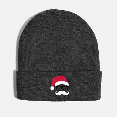 Christmas Funny Santa Claus with nerd glasses and mustache - Winter Hat