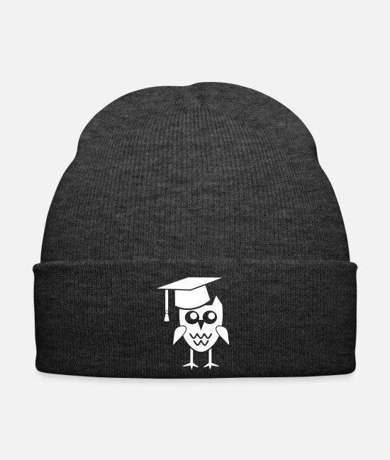 Forest Animal Caps & Hats - Owl with mortarboard gift graduation dissertation - Winter Hat asphalt