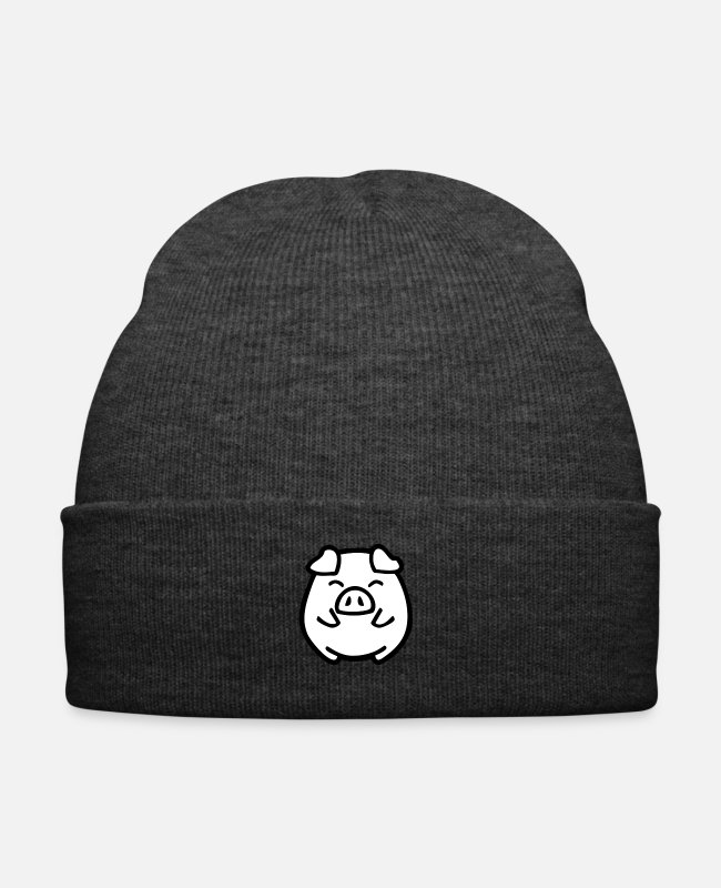 Heart Caps & Hats - cute pig - Winter Hat asphalt