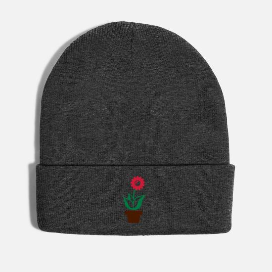 Surprise Caps & Hats - Flower in flowerpot - Winter Hat asphalt