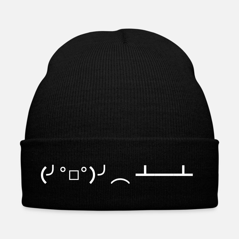 Angry Casquettes et bonnets - Table Flip Japanese Emoticon Kaomoji - Bonnet noir
