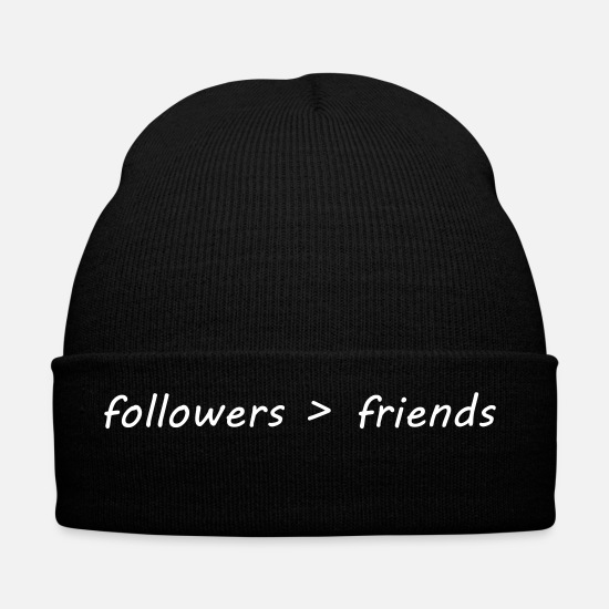 Meme Caps & Hats - followers over friends - Winter Hat black