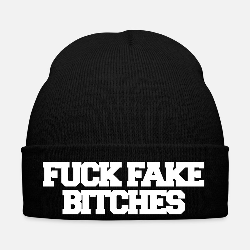 Casquettes et bonnets - Fuck fake bitches - Bonnet noir