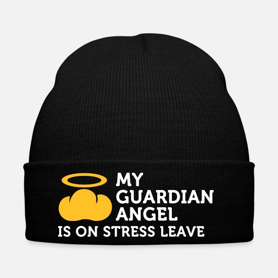 Stress Caps & Hats - My Guardian Angel Is On Vacation - Winter Hat black