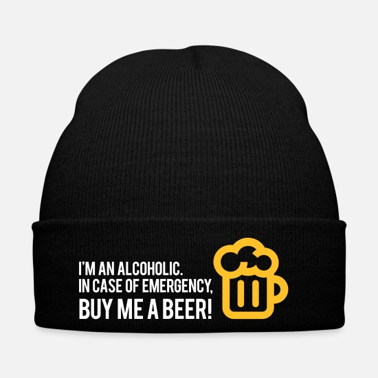 Alcohol Caps & Hats - I'm An Alcoholic. For Emergencies I Have Beer! - Winter Hat black