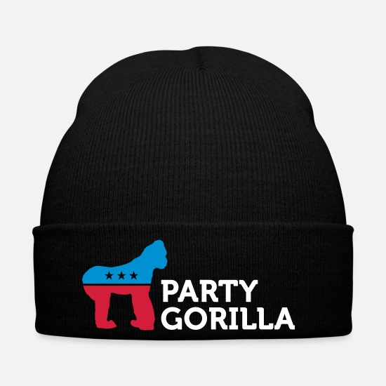 Politics Caps & Hats - Political Party Animals: Gorilla - Winter Hat black