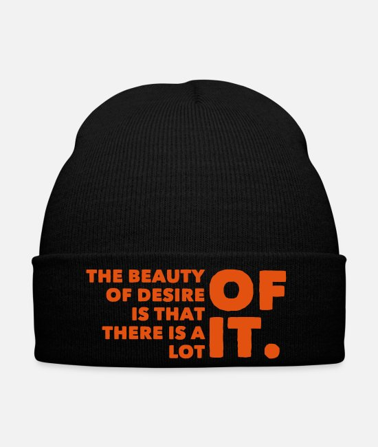 English Caps & Hats - beauty desire lot of it English saying gift - Winter Hat black