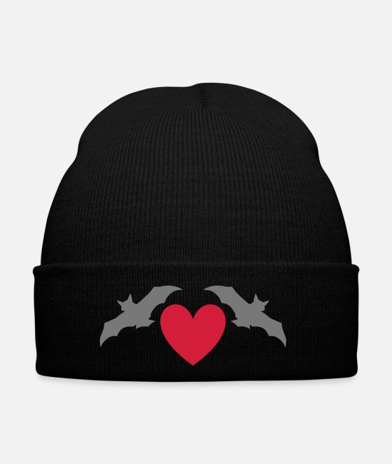 Mammal Caps & Hats - Two bats and a heart - Winter Hat black