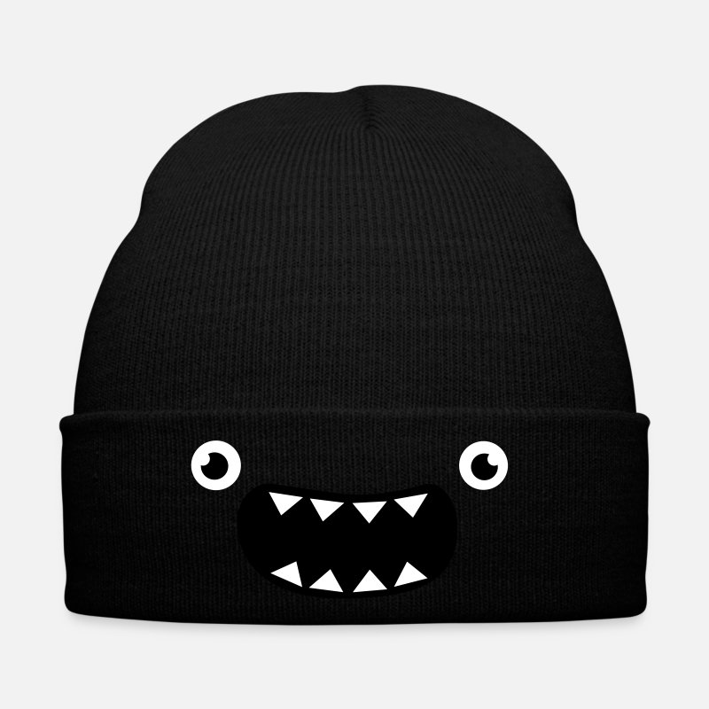 Christmas Caps & Hats - Funny Monster Face - Winter Hat black
