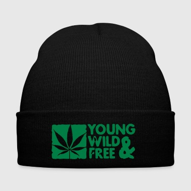 young wild and free weed leaf boxed - Czapka zimowa