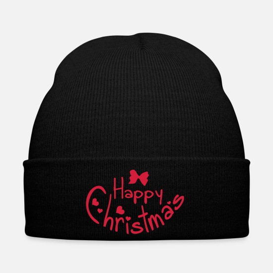 Love Caps & Hats - happy christmas typo c1 - Winter Hat black