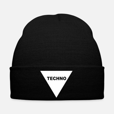 Techno T-shirt with Techno inscription Techno minimal gift - Winter Hat