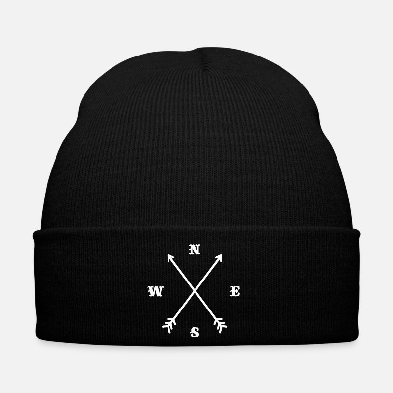 Arrows Caps & Hats - Hipster compass / Cross - Modern Trendy Outfit - Winter Hat black