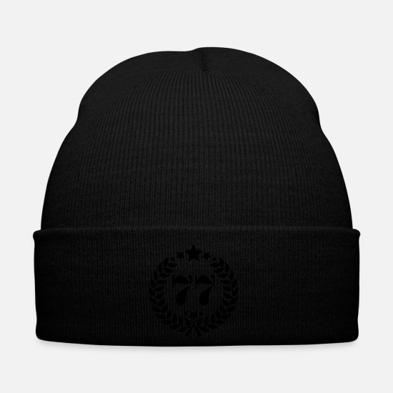 Birthday Caps & Hats - 77th birthday wreath number 77 vintage age - Winter Hat black
