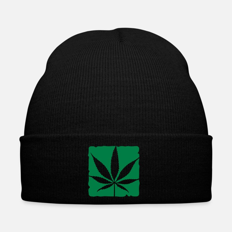 Cannabis Caps & Hats - weed leaf boxed - Winter Hat black