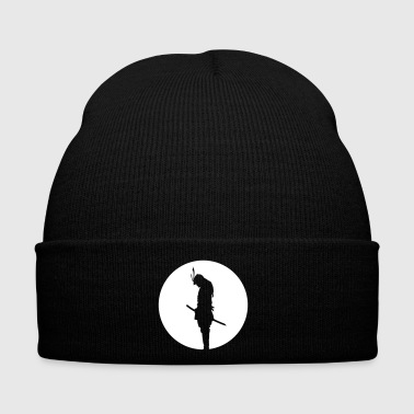 Karate Japan Samurai Warrior - silhouette (Japan flag) - Winter Hat