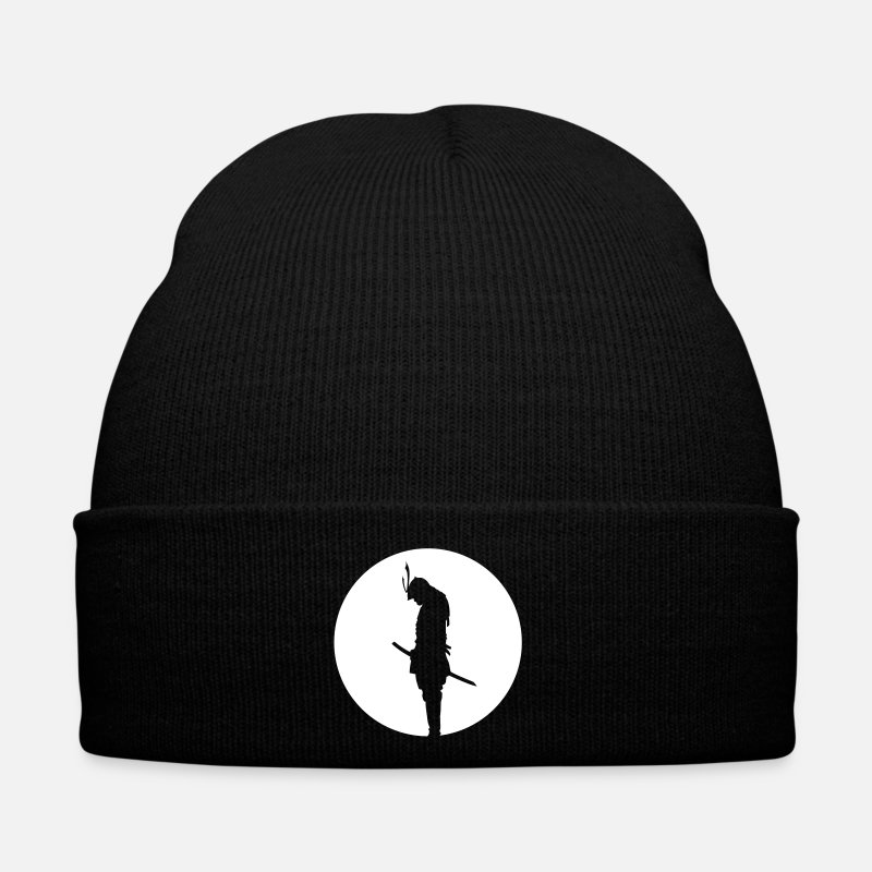 Samurai Caps & Hats - Japan Samurai Warrior - silhouette (Japan flag) - Winter Hat black