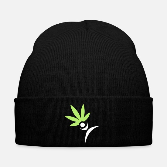Gift Idea Caps & Hats - cannabis jump men - Winter Hat black